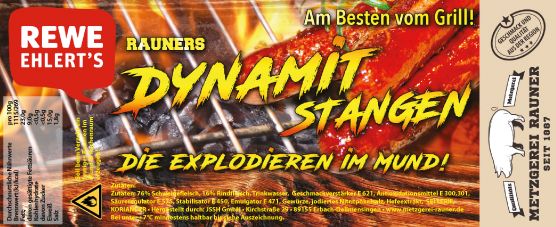 Metzgerei Rauner Rewe Label Dynamitstangen
