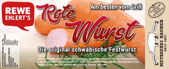Metzgerei Rauner Rewe Label Rote Wurst